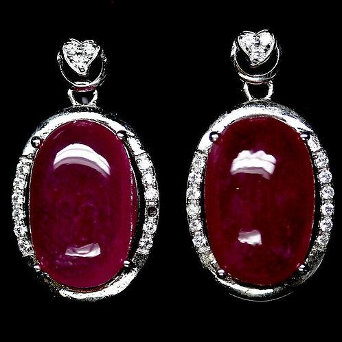 Серьги серебро 925 ручной работы с розовым рубином натуральным 14х9 мм