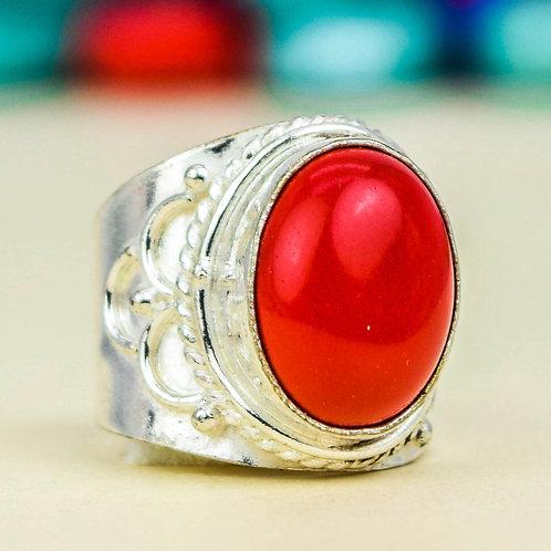 Кольцо серебро 925 ручной работы c кораллом натур арт.000784-50