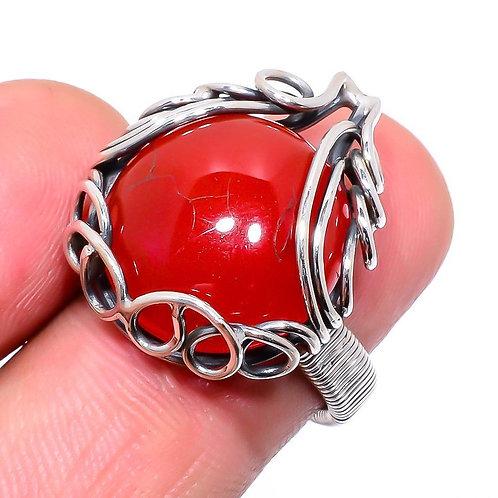 Кольцо серебро 925 ручной работы с красным сердоликом натуральным (р.16.5)