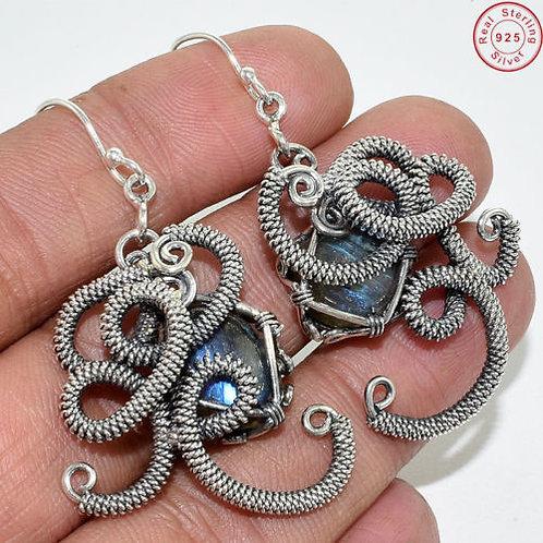 Серьги серебро 925  с лабрадоритом нат. арт.000924-51