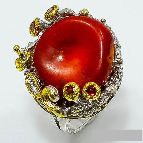 Кольцо серебро 925 ручной работы с кораллом и родолитом натур. арт.102723-50
