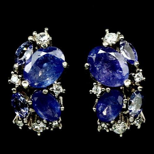 Серьги серебро 925 ручной работы с синим танзанитом натуральным арт.102902