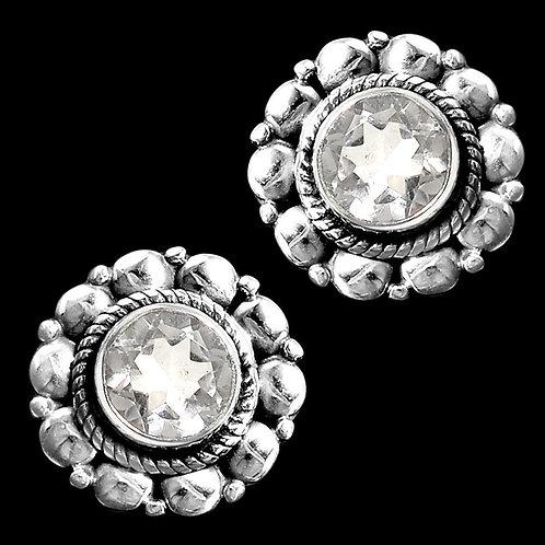 Серьги серебро 925 ручной работы с белым кварцем натуральным 6х6 мм