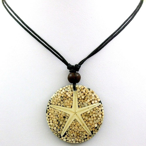 Ожерелье ручной работы с кораллом и морской звездой натуральными (длина 45 см)