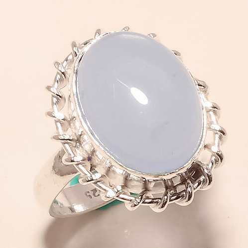 Кольцо серебро 925 ручной работы с голубым халцедоном натуральным (р.18.5;17,5))