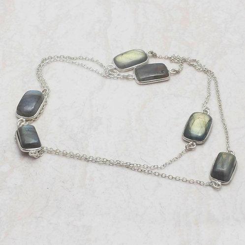 Ожерелье серебро 925 ручной работы с лабрадоритом натуральным арт.102271