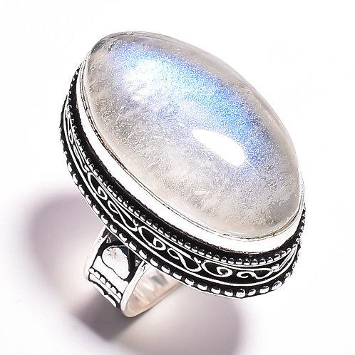 Кольцо серебро 925 ручной работы с радужным лунным камнем натуральным (р.17.3)
