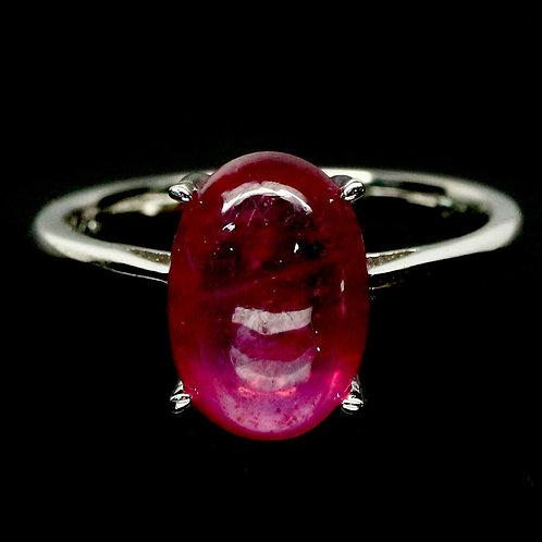 Кольцо серебро 925 ручной работы с розовым рубином натуральным р.17.7 арт.102785