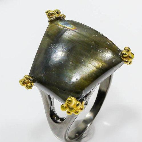 Кольцо серебро 925 ручной работы с лабрадоритом натуральным (р.18.2)