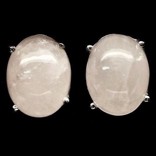 Серьги серебро 925 ручной работы с розовым кварцем натуральным арт.102187