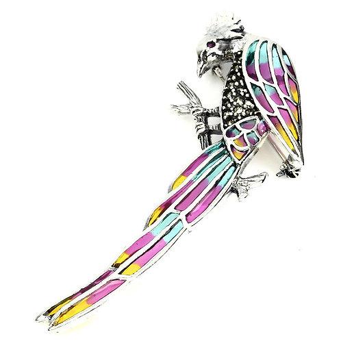 Серебряная брошь  с марказитом попугай