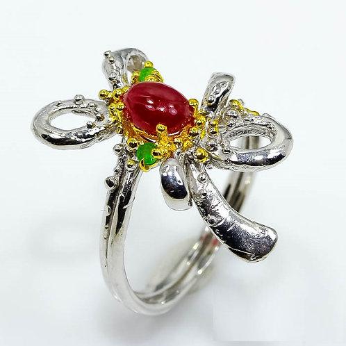 Кольцо серебро 925 ручной работы с рубином и изумрудом натурал. ари 000743-5