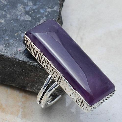 Кольцо серебро 925 ручной работы с аметистом натур. арт.102270-65