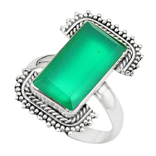 Кольцо серебро 925 ручной работы c зеленым халцедоном натуральным (р.17.3)