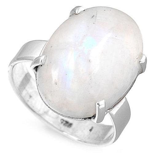 Кольцо серебро 925 ручной работы с радужным лунным камнем натуральным (р.18.2)