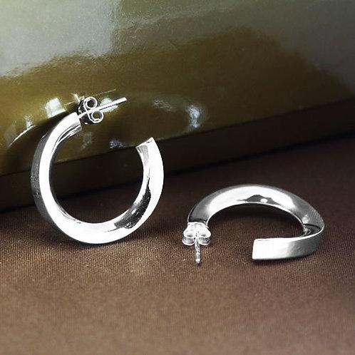 Серьги полированное серебро 925 ручной работы (диаметр 25 мм)