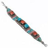 Браслет тибетское серебро ручной работы с кораллом и бирюзой натур. арт.102717