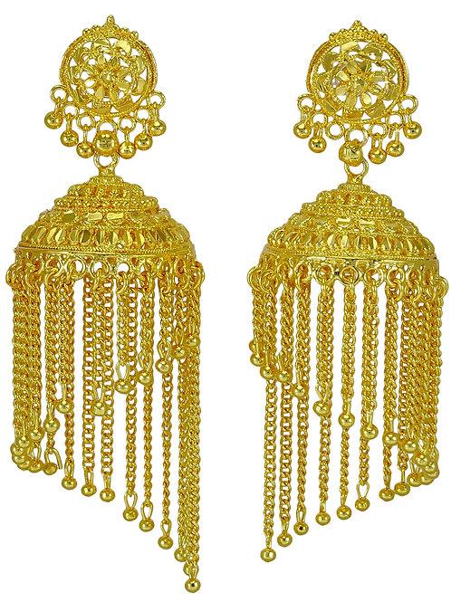 Серьги этнические покрытие желтое золото 18 К
