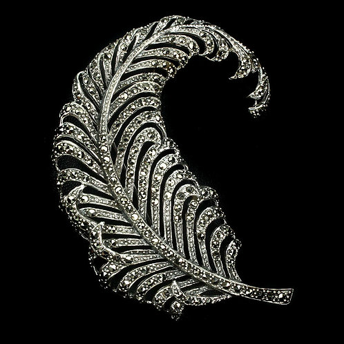 Брошь серебро 925 ручной работы c марказитом натуральным 1.5 мм (84х65 мм)