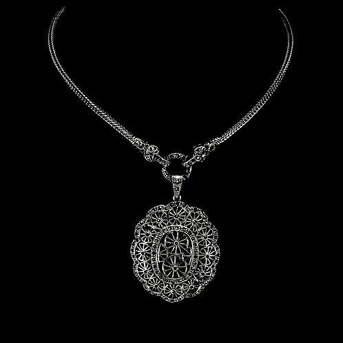 Ожерелье серебро 925 ручной работы с марказитом шампань натуральным (63.5 см)