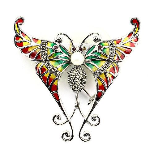 Серебряная брошь  с жемчугом бабочка