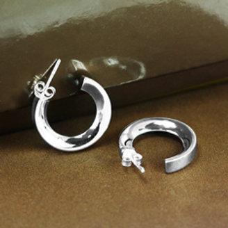 Серьги полированное серебро 925 ручной работы (диаметр 20 мм)