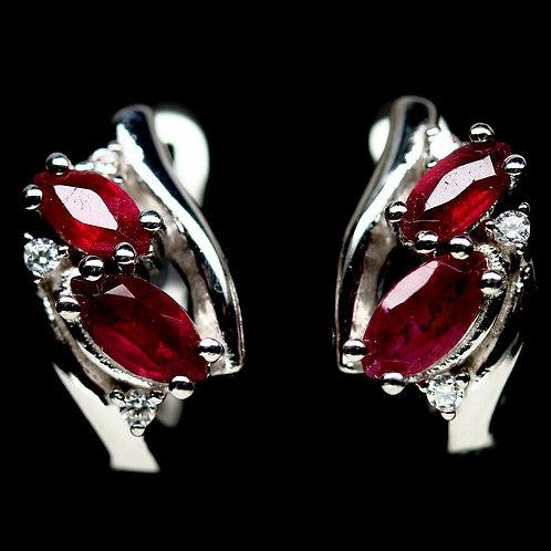 Серьги серебро 925 ручной работы с красным рубином натуральным арт.102772