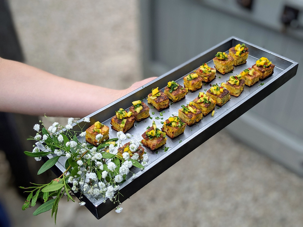 One of our popular vegetarian canapés - sweetcorn fritters with mango and chili salsa