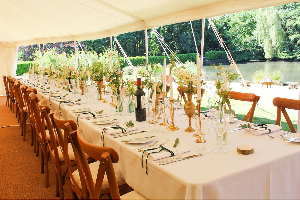 Marquee wedding table setting