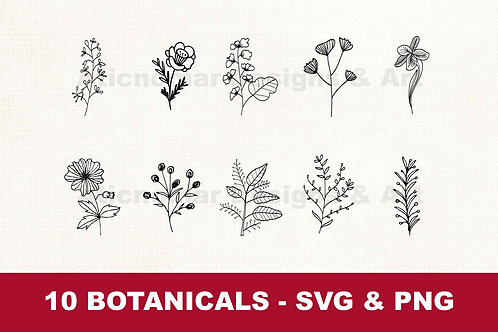 Digital Download | Botanical svg png bundle | flowers svg png