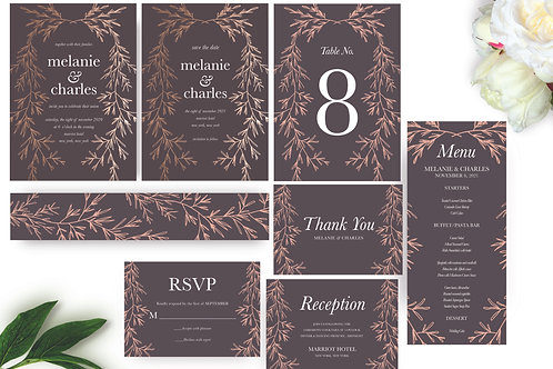 Botanical Leaves Wedding Invitation Set, Printable Invitation, Wedding Templates