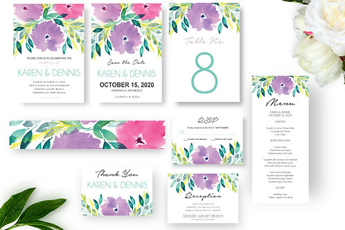 Flowers Wedding Invitation Set, Printable Invitation, Wedding Templates