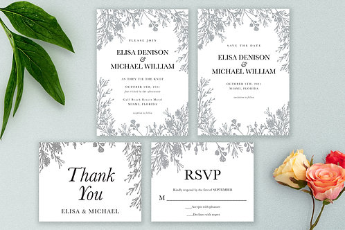 Printed Suite Wedding Invitation, Save the Date, RSVP Card and Thank You Card