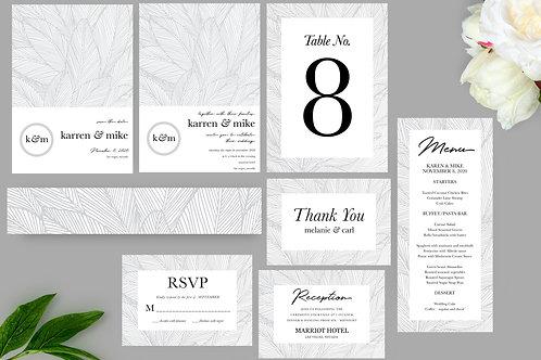 Botanical Leaves Wedding Invitation Set, Printable Invitation, Wedding Templates