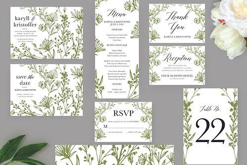 Botanical Leaves Wedding Invitation Set, Printable Invitation, Wedding T