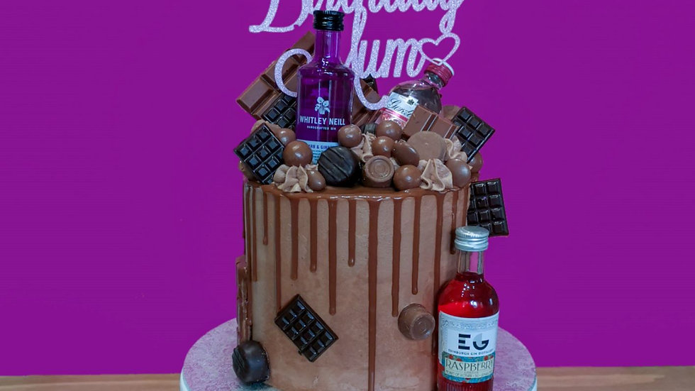Gin and Chocolate Loaded Drip Cake