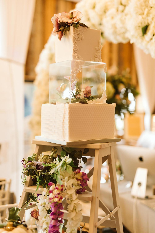 Floating botanical wedding cake - (c) Kayleigh Ann Photography
