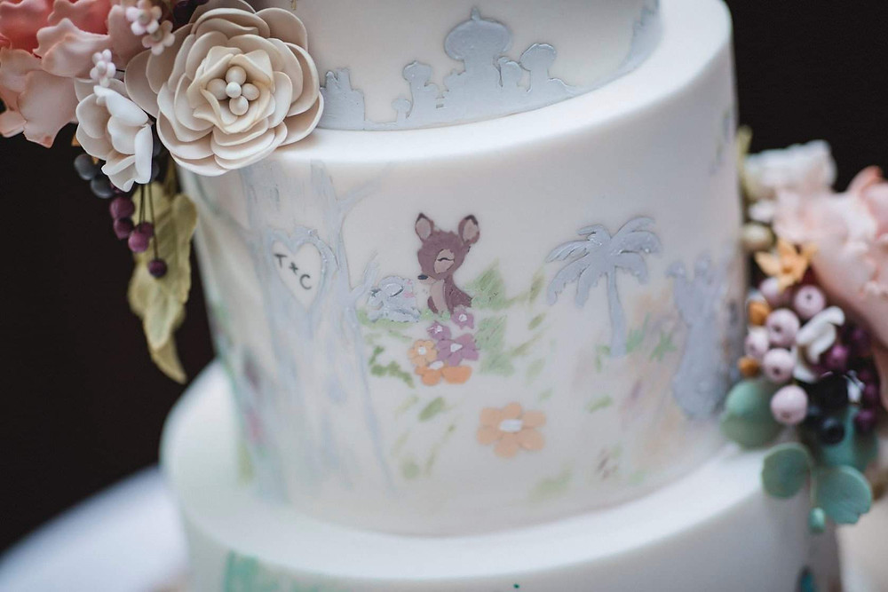 Disney hand painted wedding cake - (c) Flash Photography