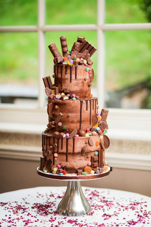 Loaded Chocolate Drip Wedding Cake