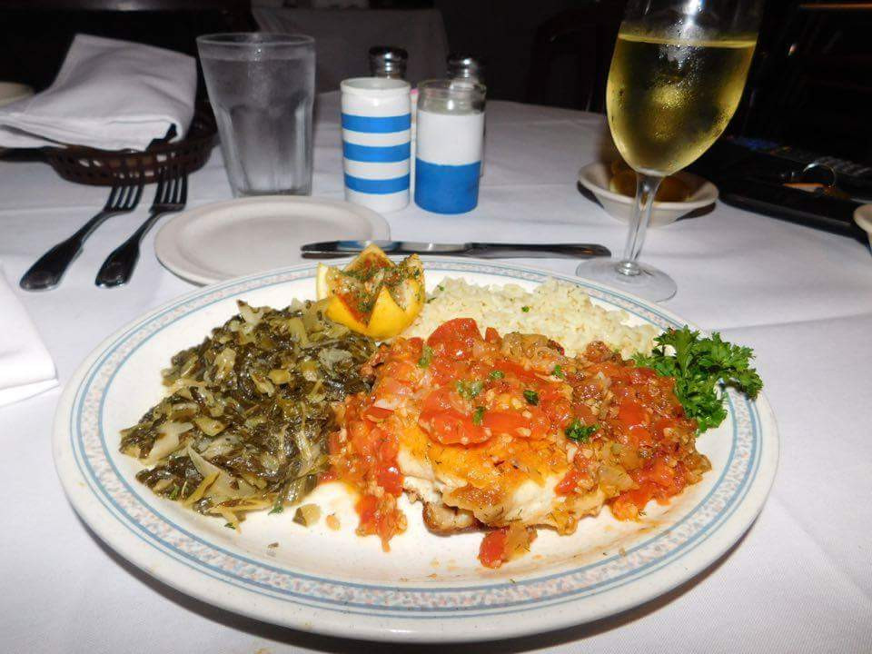 Come try our delicious red snapper with a Vegetable (Plaki Sauce) today!