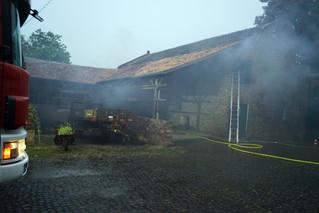 Scheunenbrand nach Blitzeinschlag
