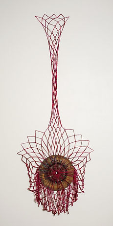 fiber (yarn) sculpture with metal car part using net making technique