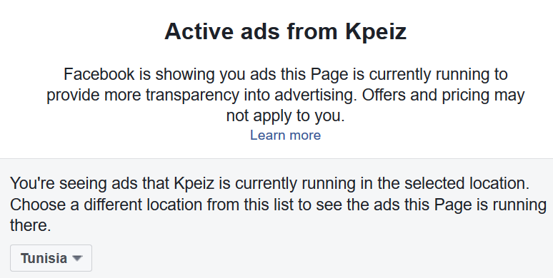 KPEIZ facebook page transparency ads section