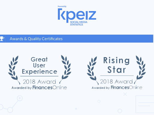 kpeiz Wins the Great User Experience and the Rising Star 2018 Award for Social Media Management Soft