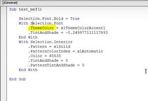 capture d'écran éditeur VBA - MYPE