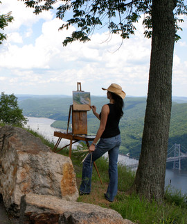 Donna Painting on Top of Bear Mountain