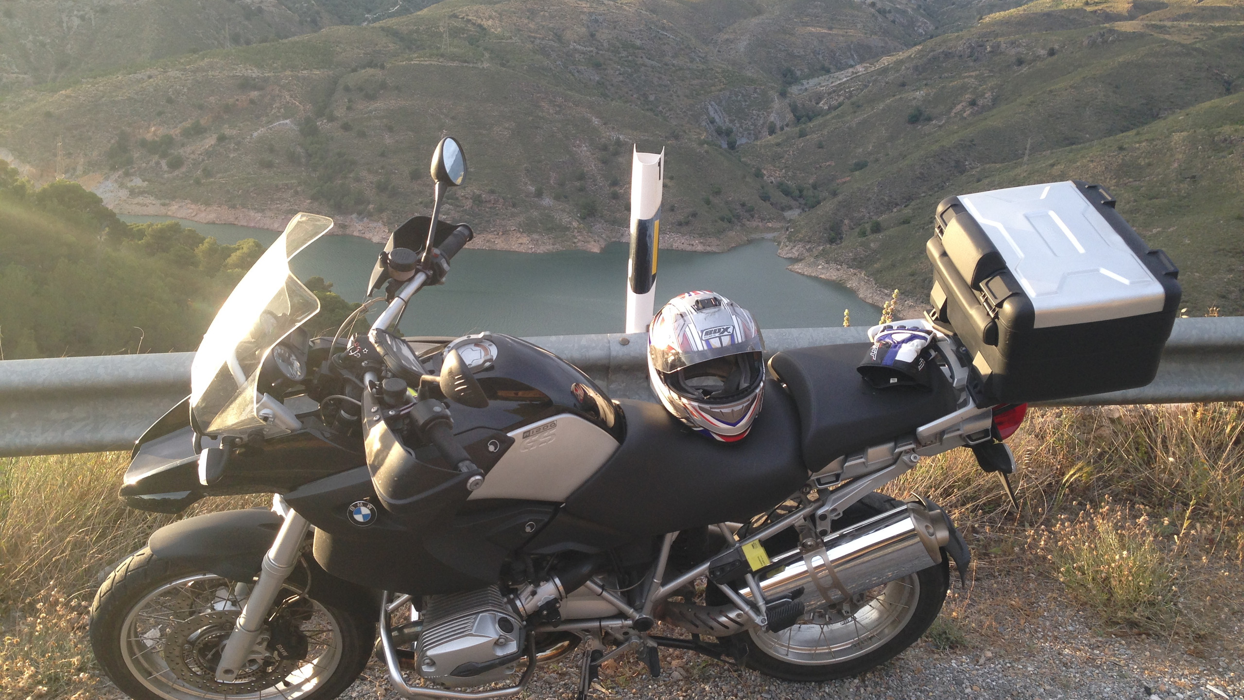 BMW Motorrad parked up in Andalucia, Spain