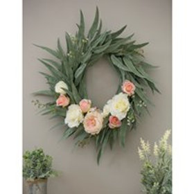"""Pink and White Roses and Peony Wreath 25"""""""