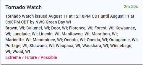 An image of text describing an alert for a tornado watch in central Wisconsin.