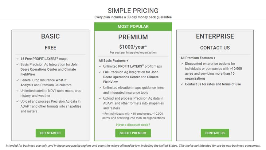 An image of a three-card pricing menu.